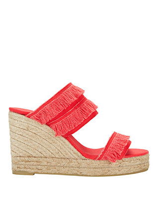 Castaner Basha Fringe Canvas Wedge: Red