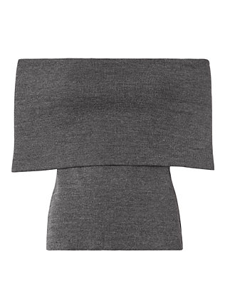 Beaufille Off-The-Shoulder Knit Top: Grey