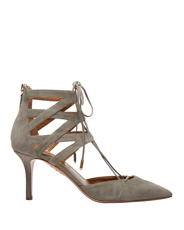 Aquazzura Belgravia Lace Up Kitten Heel: Grey