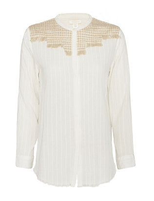 Intropia Fringe Shoulder Button Down