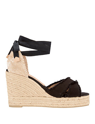Bluma Fringed Canvas Wedge Espadrilles