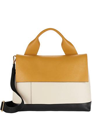 Colorblock Leather Flap Satchel