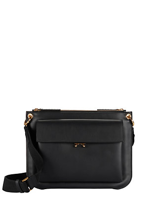 Double Pocket Leather Crossbody: Black