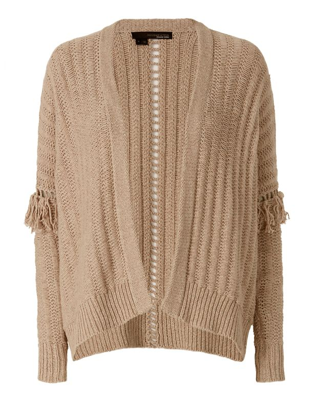 360 SWEATER Brett Fringe Sleeve Knit Throw