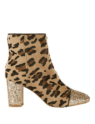 Brigitte Glitter Leopard Haircalf Booties