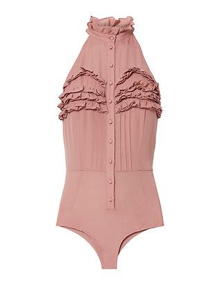 Ruffled Silk Bodysuit