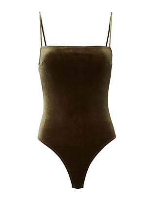 Velvet Straight Neck Bodysuit- FINAL SALE