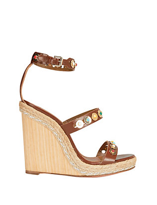 Aquazzura Byzantine Studded Wedge: Brown