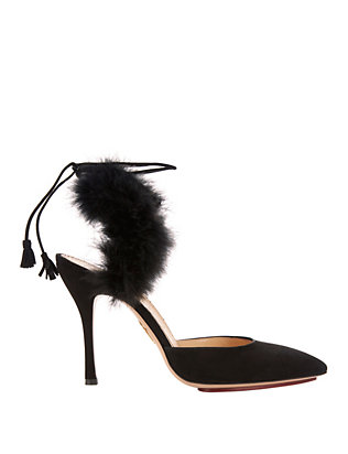 Tango Marabou Feather Suede Pumps