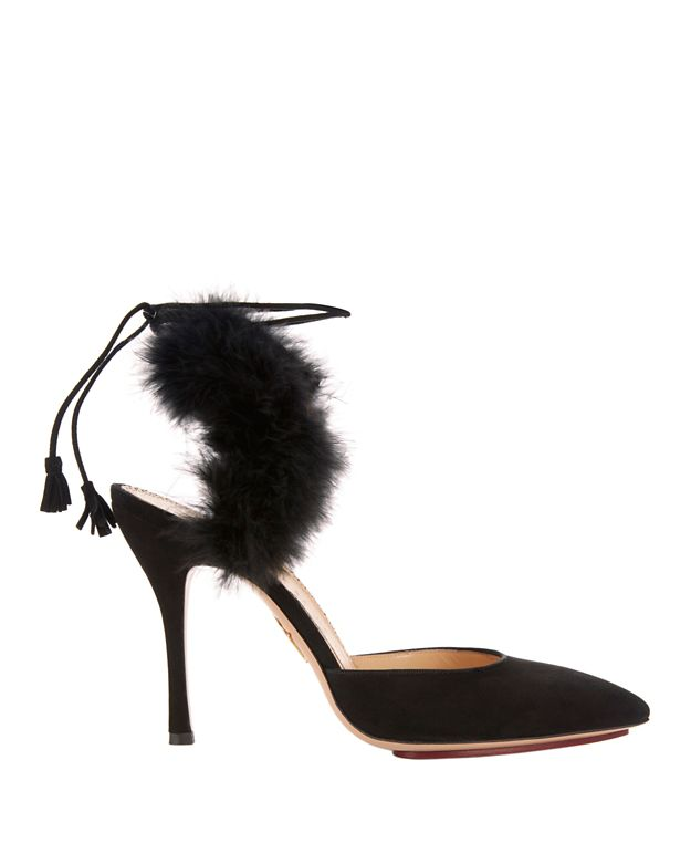 Charlotte Olympia Tango Marabou Feather Suede Pumps