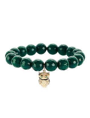 Teal Jade Owl Charm Bracelet