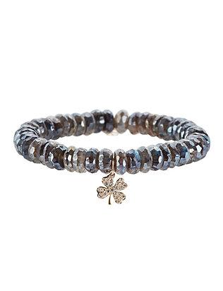 Diamond Clover Charm Labradorite Bracelet