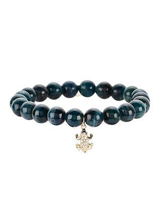 Pavé Diamond Frog Charm Apatite Bracelet