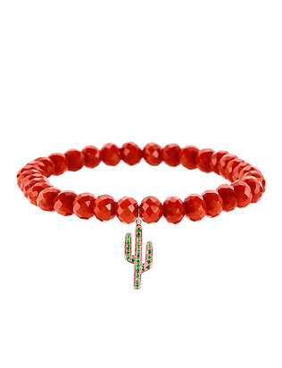 Emerald Cactus Charm Bamboo Coral Bracelet