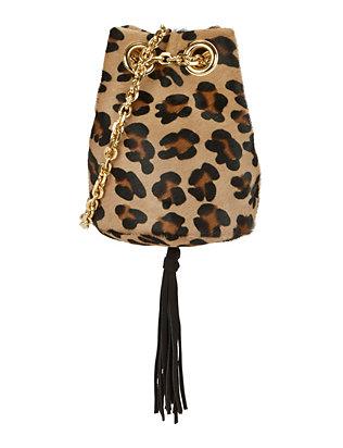 Leopard Pattern Calfhair Bucket Bag