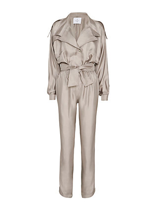 Carolina Ritz Collared Silk Jumpsuit: Grey