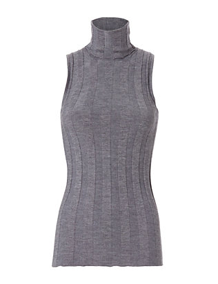 Sleeveless Ribbed Turtleneck: Grey