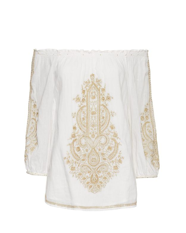 Christophe Sauvat EXCLUSIVE Metallic Embroidery Top