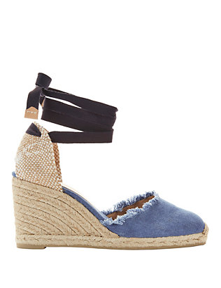 Canela Denim Wedge Espadrilles