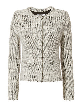 IRO Carene Collarless Knit Jacket: Ecru/Black