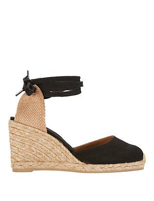 Castaner Carina Canvas Wedge Espadrilles: Black