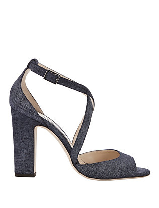 Jimmy Choo Carrie High Heel Denim Sandals