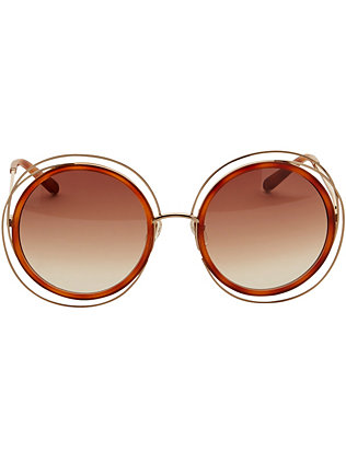 Chloe Carlina Wire Rim/Acetate Frame Sunglasses: Gold/Brown