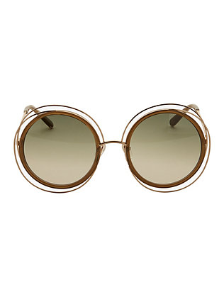 Chloe Carlina Wire Rim/Acetate Frame Sunglasses
