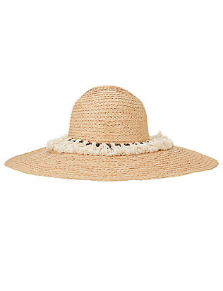 Hat Attack XL Tasseled Trim Raffia Sun Hat