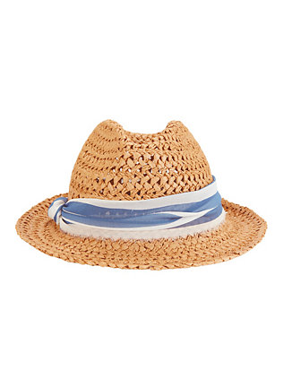 Hat Attack Chiffon Trim Open Weave Fedora