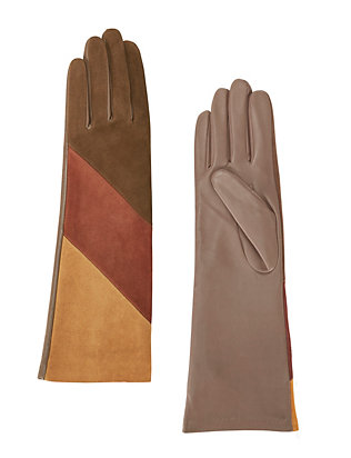 Agnelle Celia Tri-Color Suede Gloves