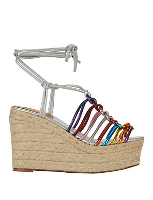 Rainbow Strappy Knot Wedge Espadrille