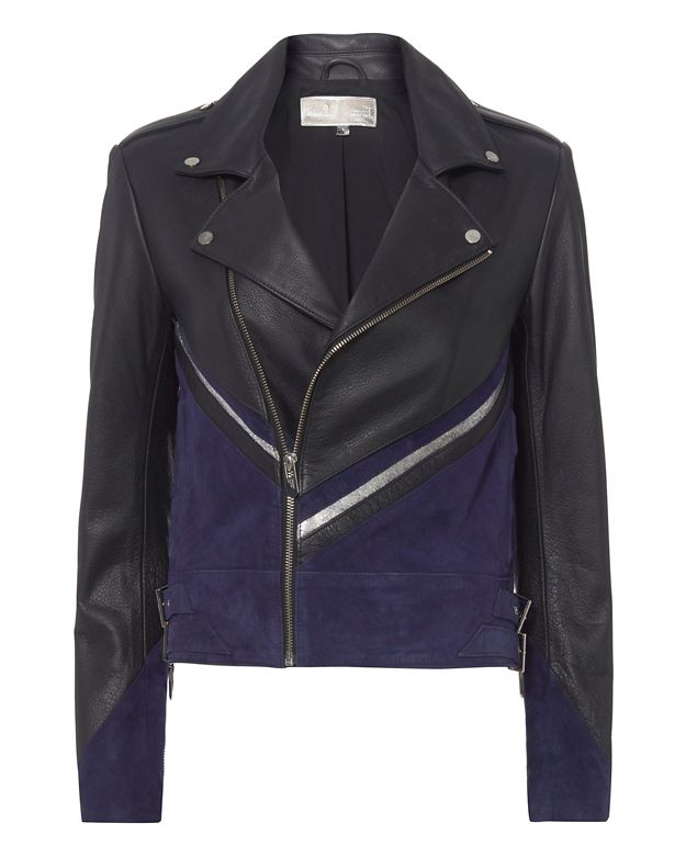 The Mighty Company Dripping Heart Suede and Leather Moto Jacket