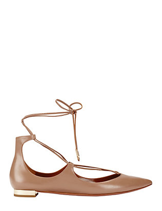Aquazzura Christy Tie-Up Pointy Toe Leather Flat: Nude