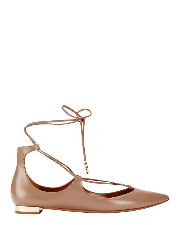 Aquazzura Christy Tie-Up Pointy Toe Leather Flats: Nude