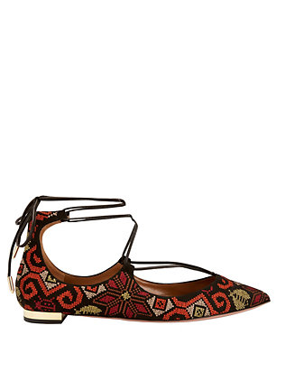 Aquazzura Christy Embroidery Print Suede Pointy Toe Flat