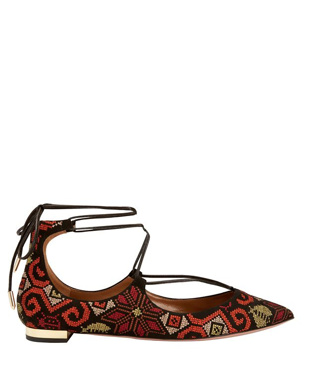 Aquazzura Christy Embroidery Print Suede Pointy Toe Flats