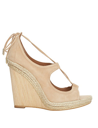 Aquazzura Christy V-Strap Suede Wedge