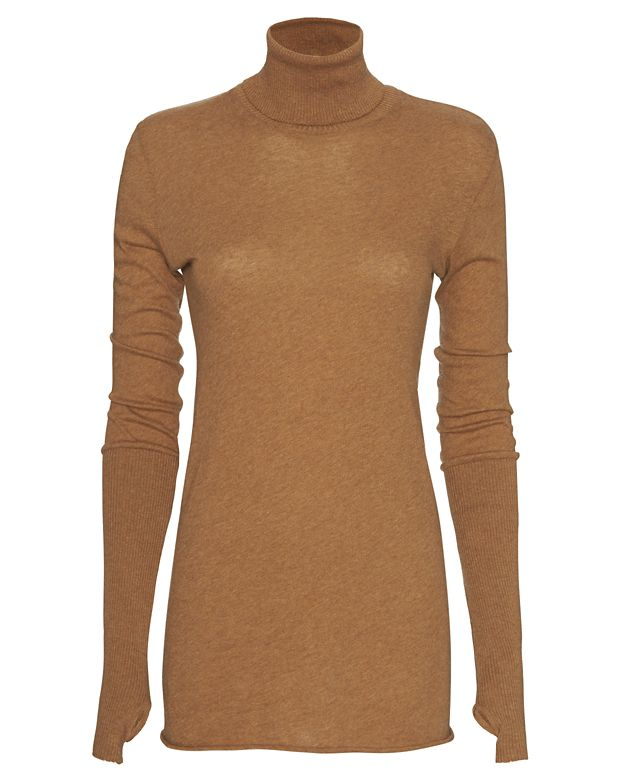 Enza Costa Cotton/Cashmere Thumbhole Turtleneck: Tan