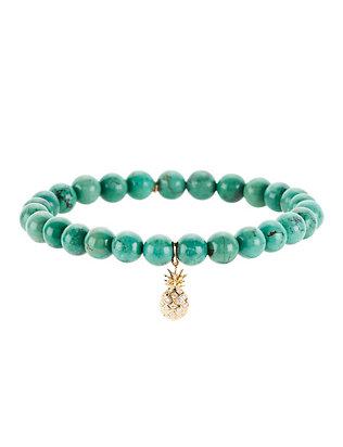 Diamond Pineapple Charm Turquoise Bracelet