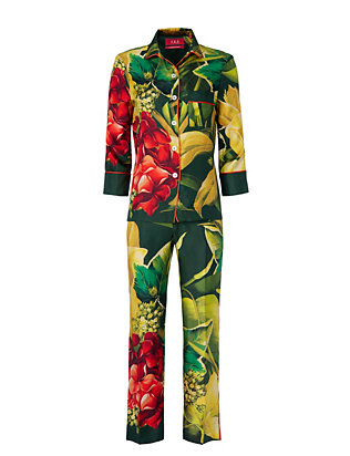 For Restless Sleepers Tropical Print Pajama Set