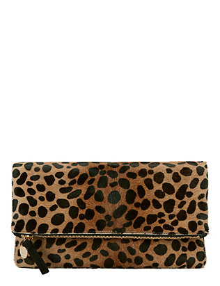 Clare V. Leopard Haircalf Fold Over Clutch
