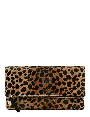Leopard Haircalf Fold Over Clutch