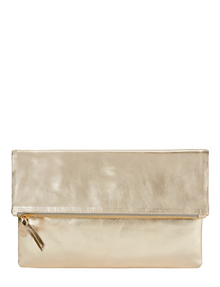 Clare V. Maison Fold Over Metallic Leather Clutch: Gold