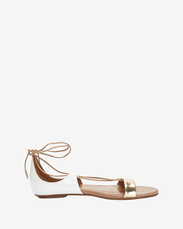 aquazzura-colette-gold_white-flat-sandal by aquazzura