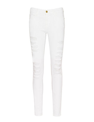 Le Color Rip White Skinny Jeans