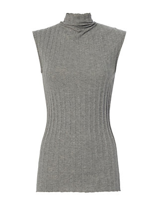 Ribbed Sleeveless Grey Turtleneck