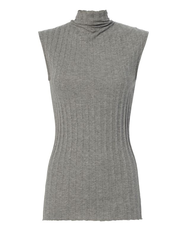 Enza Costa Ribbed Sleeveless Grey Turtleneck