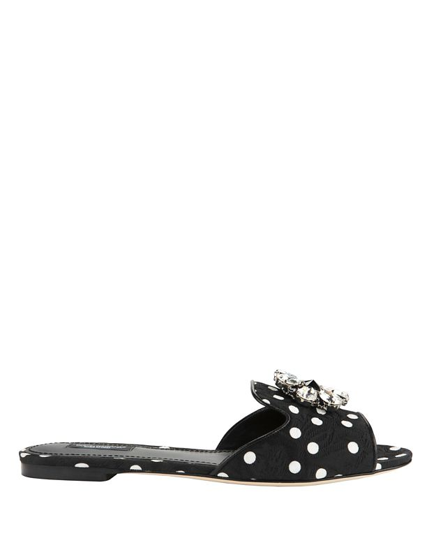 Dolce & Gabbana Crystal Open-toed Flat Sandals
