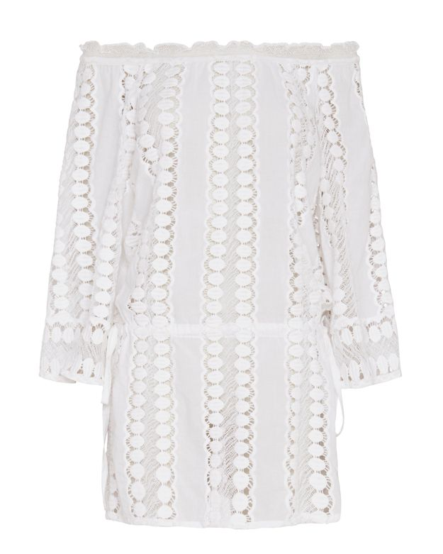 Miguelina Tabitha Embroidered Dress: White